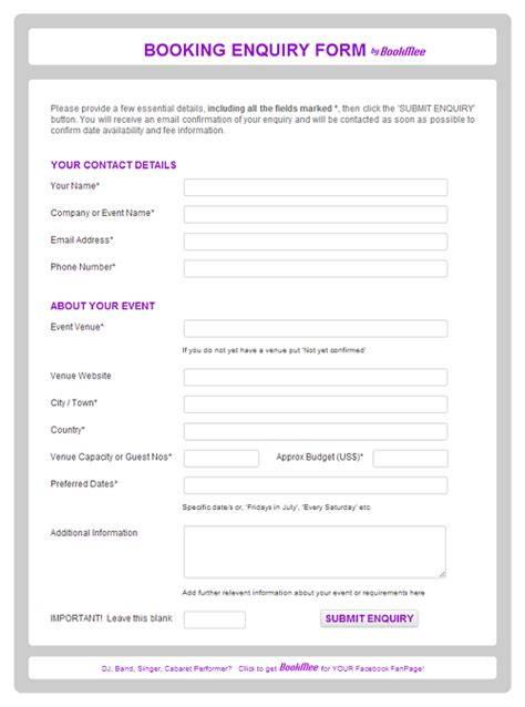 booking request form template bookmee editions accommodation entertainment