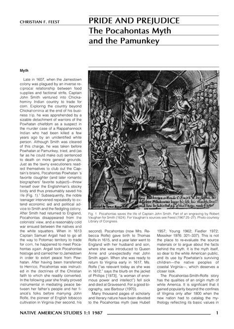 (PDF) Pride and Prejudice: The Pocahontas Myth and the