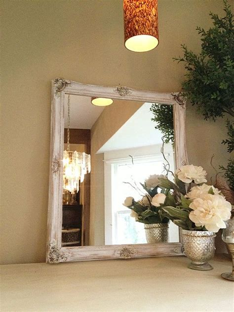 shabby chic chalk paint mirror white ornate gold baroque