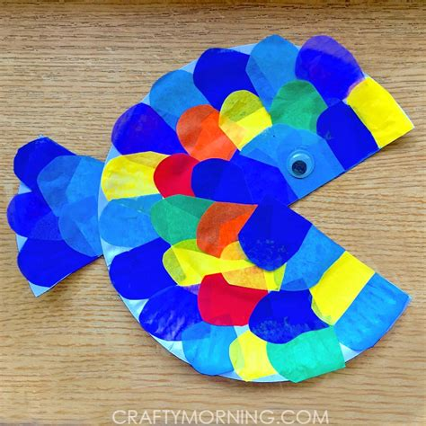 Children S Paper Crafts - paper plate tissue paper fish craft crafty morning