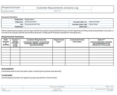 Project Requirements Template Excel by Collect Requirements Templates Project Management
