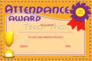 Attendance award printable classroom student awards and certificates