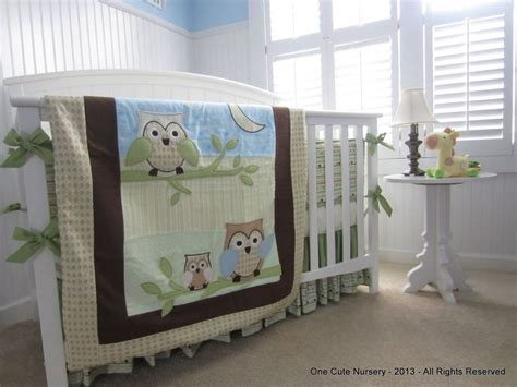 Owl Baby Crib Set Owl Themed Crib Bedding Set Green Yellow Brown Baby Blue Baby Boy Neutral Gender