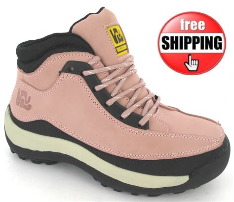 womens pink safety leather steel toe caps hiking