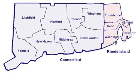 map of ri and ct recreational opportunities by county in connecticut and