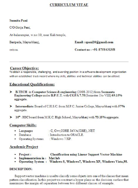 b tech resume format for fresher resume format for b tech cse students