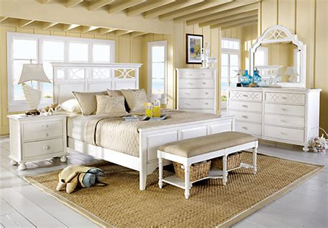 home seaside white 5 pc king panel bedroom