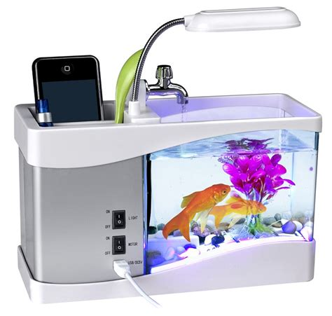 Best Fish For Office Desk Wholesale Mini Usb Aquarium Desktop With Pen Holder Clock And Led Light Alibaba