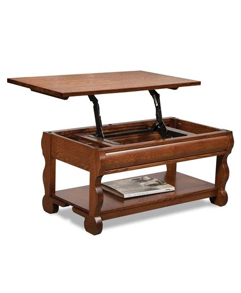 classic sleigh open coffee table with lift top amish
