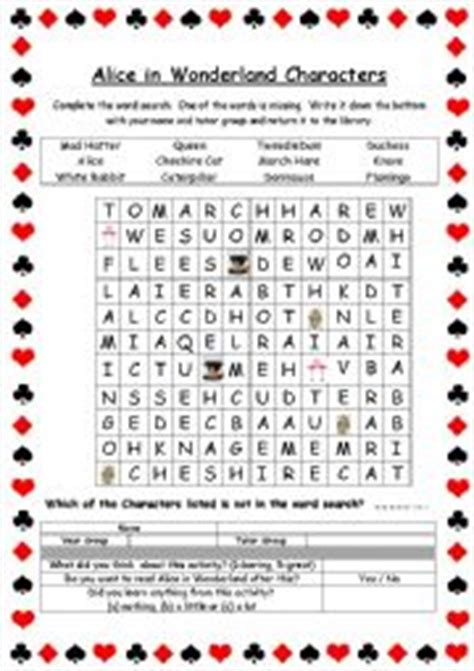 alice in wonderland printable word search english worksheets the animals worksheets page 355