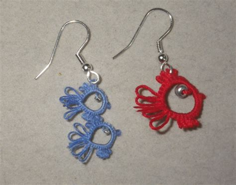 one fish two fish tatted earrings tatting dr seuss