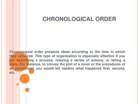 chronological order essay definition