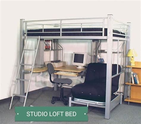 Loft Beds Computer Desk Studio Bunk Student Loft Bed Size W L Shaped Computer Desk Book Shelves New Ebay