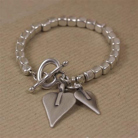 Cube Bracelet silver cube bracelet with hearts by