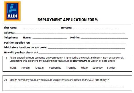 printable job application for aldis image gallery job application aldi