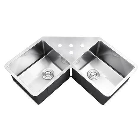 43 Inch Stainless Steel Undermount Butterly Corner Double Stainless Steel Corner Kitchen Sink
