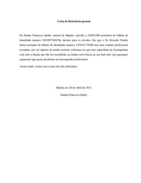 carta de referencia laboral para banco carta de refer 234 ncia pessoal