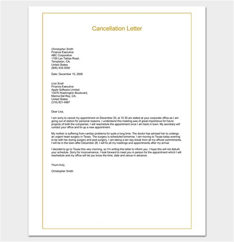 quote cancellation letter sle cancellation letter format word doc letter
