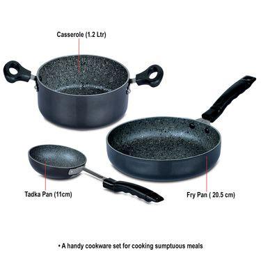 buy kitchen queen 70 pcs buy 5 pcs granite texture finish cookware online at best