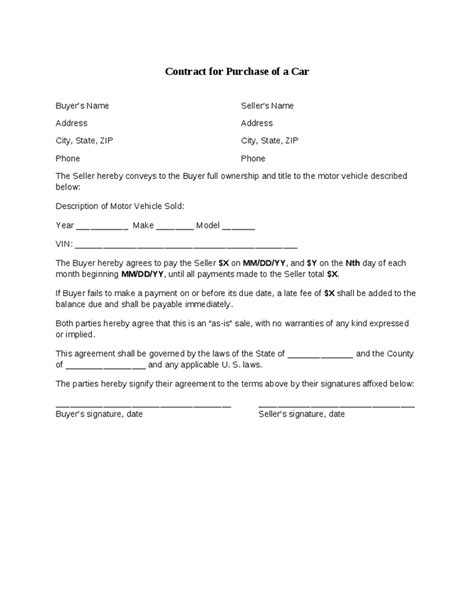 buyer seller agreement template car selling contract hashdoc