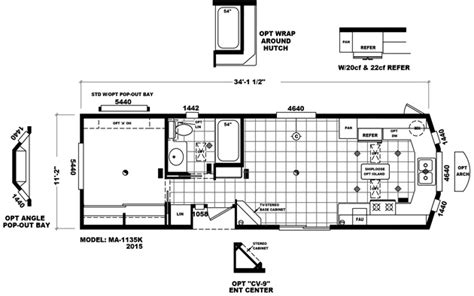 Breckenridge Park Model Floor Plans by Ma 1135k Cavco Park Models