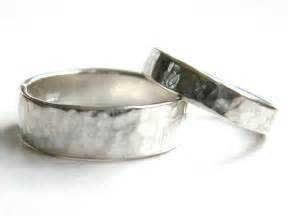 silver wedding rings for his and hers hammered silver wedding rings made wedding
