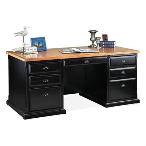 Office Desks Ireland Kathy Ireland Home By Martin Southton Pedestal Executive Desk In Distressed Onyx Imso680