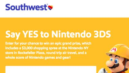Southwest Sweepstakes - southwest say yes to nintendo 3s sweepstakes sun sweeps