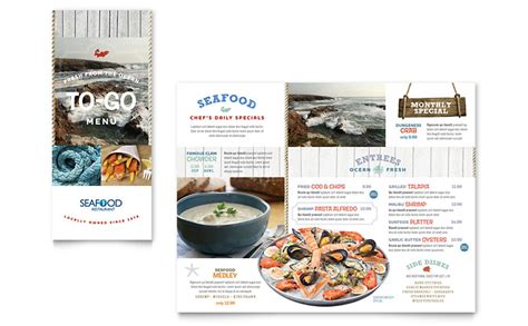 seafood restaurant   brochure template word publisher