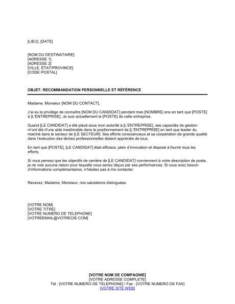 Exemple Lettre De Recommandation Personnelle Modele Lettre De Recommandation Personnelle Contrat De Travail 2018