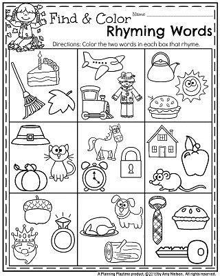 words that rhyme with color fall kindergarten worksheets for november kindergarten