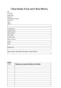 customer intake form template client intake form template sle