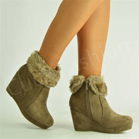 new womens ankle boots inner fur high wedge heel