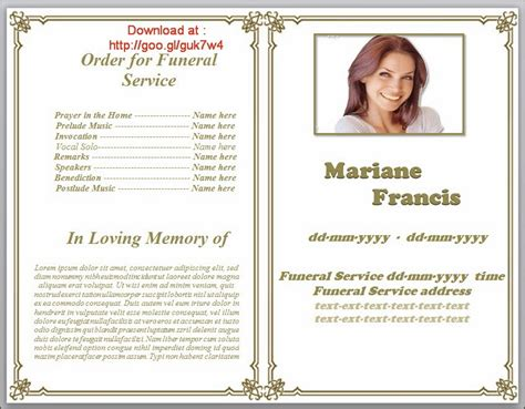 memorial leaflet layout funeral phlet templates editable in word in classic