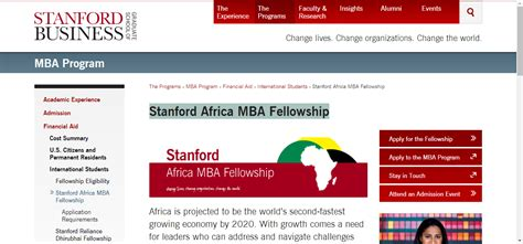 Stanford Mba Fellowship Africa by Stanford Africa Mba Fellowship Scholarship