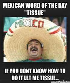 Spanish Word Of The Day Meme - mexican word of the day quot tissue quot