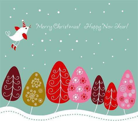 free printable christmas cards colorful modern christmas christmas card with a bird and colorful trees hd