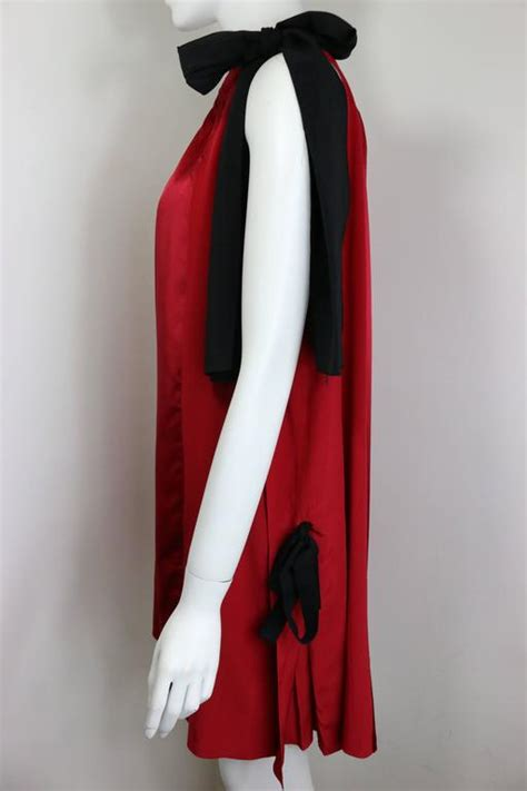 Dress Front Ribbon Maroon A15457gn prada burgundy silk and satin black ribbons sleeveless dress for sale at 1stdibs