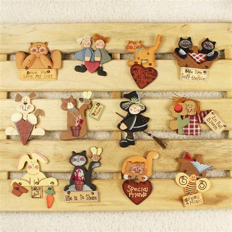 Handmade Fridge Magnets - 2pcs sweet cat wooden handmade fridge magnets