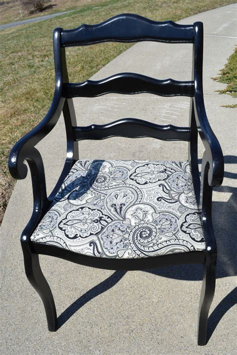 black and white paisley chair repurposed vintage chair black lacquer paint and black