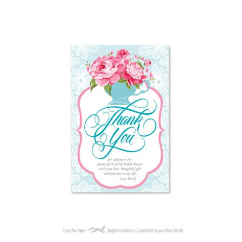 printable thank you cards bridal shower bridal shower thank you card customized printable diy