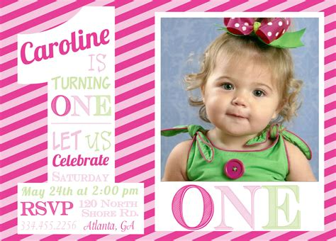 1st birthday invitations girl free template girl 1st