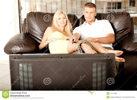 you porn couch adorable couple watching tv royalty free stock images