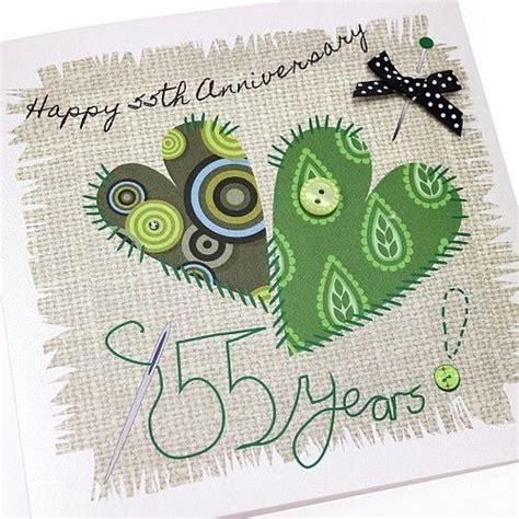 Handmade Emerald Anniversary Card Patchwork Appliqué