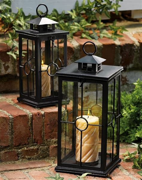 set of 2 garden candle lanterns