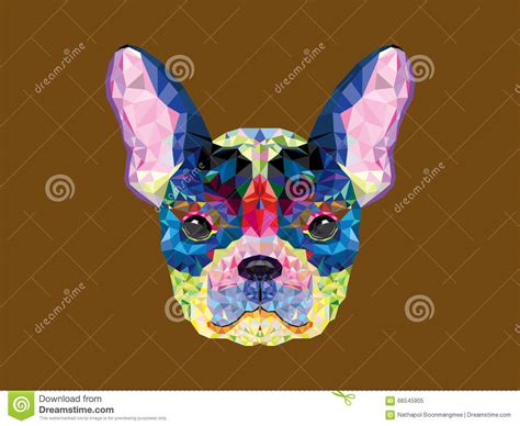 geometric pattern in french french bulldog head in geometric pattern stock vector