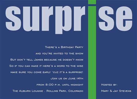 surprise party invitation template invitation templates