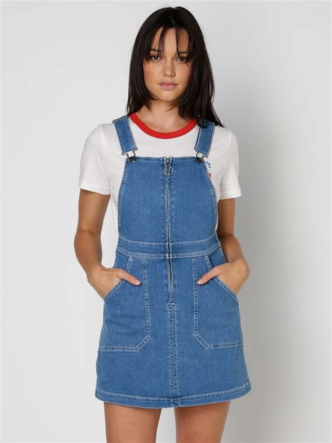 Dress Overall Overall wrangler mini pini overalls dress in 70s blue denim
