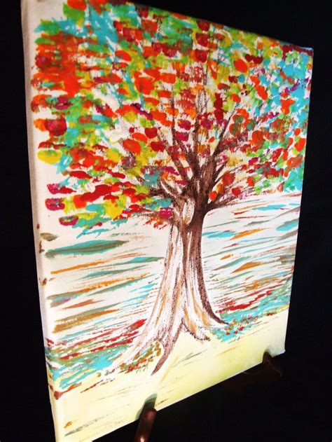 unique acrylic painting ideas painting for home decor texturized tree on canvas acrylic