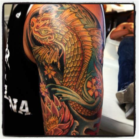 bryan s koi dragon arm finished scott hill tattoo closter